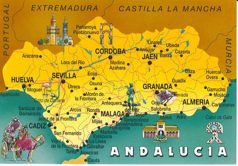 Андалусия на карте