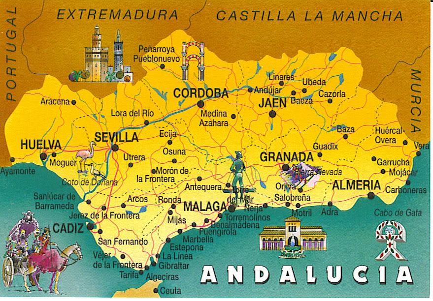 Испания Андалусия Карта