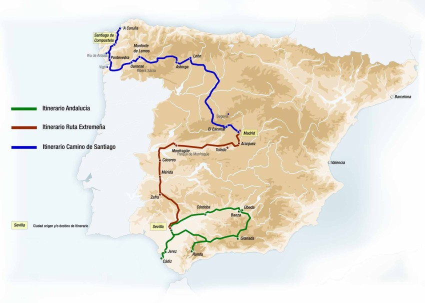 Маршрут поезда Al Andalus